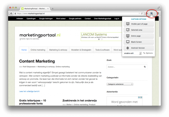 Website screenshot maken