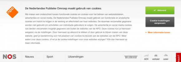Cookiemelding op NOS.nl